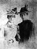 With her sister Olga, 1899